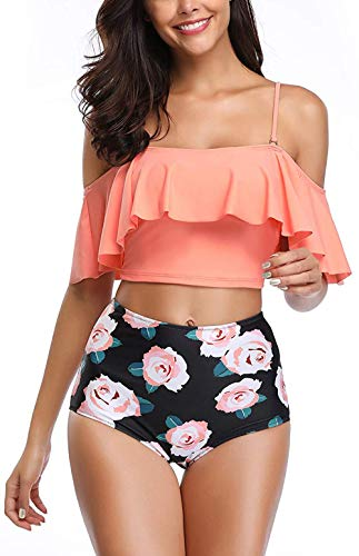 (BTPEIHTD High Waisted Flounce Bikini Set,Tummy Control Swimsuits for Women Two Piece,Off Shoulder Bathing Suit (Orange in Love, XL))