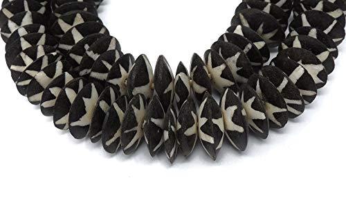 (Mudcloth Batik Bone Beads Disks Africa)