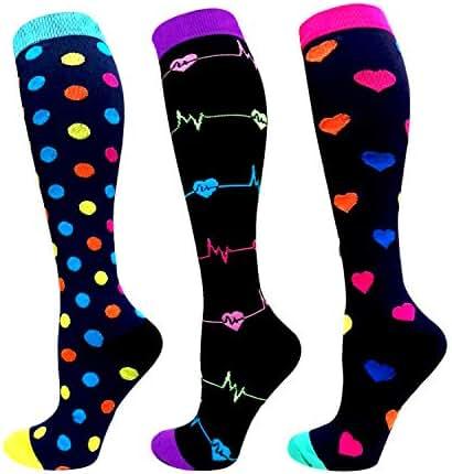 Compression Socks Women & Men 20-25 mmHg (1/3/6 Pairs), Best Athletic & Medical Running Flight Travel Pregnant