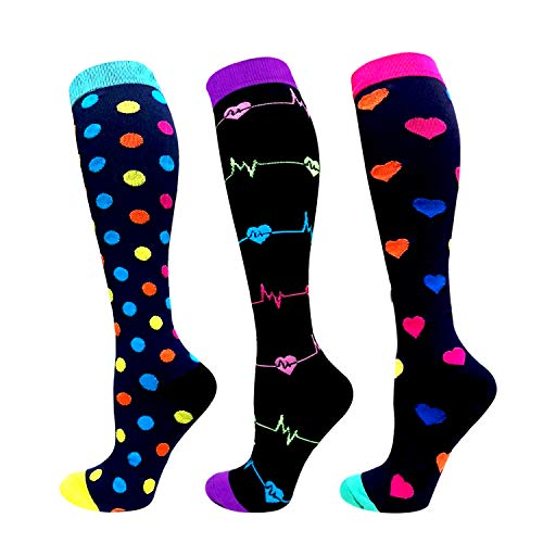 Compression Socks Women & Men 20-30 mmHg (3/6 Pairs), Best Athletic & Medical Running Flight Travel Pregnant ()