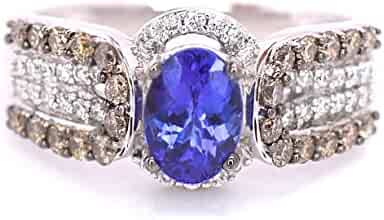 LeVian 1.20 cttw Blueberry Tanzanite Chocolate and Vanilla Diamonds Cocktail Ring 14k White Gold Size 7