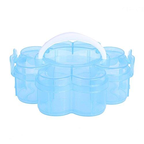 - MKChung Portable Plum Flower Storage Box Jewelry Bead Case Holder Organizer(Blue)