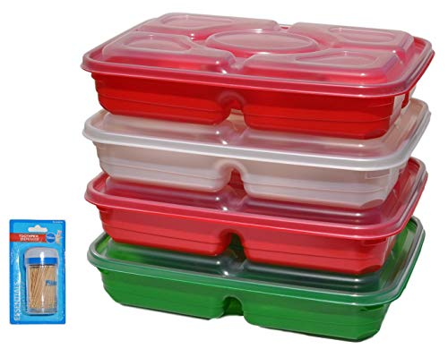 Red White Green Set of FOUR Outdoor Indoor 5 Compartment Party Picnic Serving Platter with Lid with Set of Toothpicks Last Minute Christmas Stocking Stuffer Gift Idea Under 20 Dollars (Color1) -