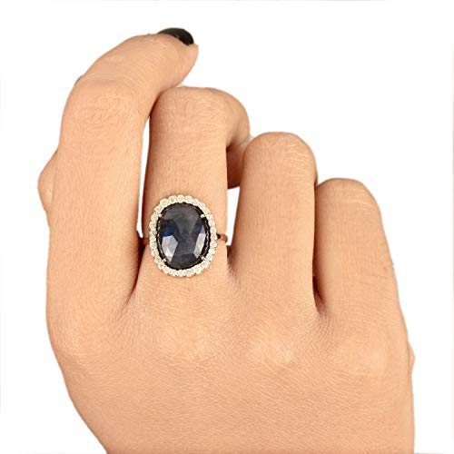 Christmas Day Gift Natural 4.86 Ct. Diamond Cocktail Ring Labradorite Gemstone Wedding Jewelry Solid 14k Yellow Gold Handmade Fine Jewelry