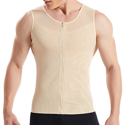 Hanerdun- Mens Slimming Body Shaper Shirt With Zipper Abs Abdomen Slim,Nude,Large