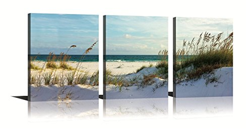 (YPY Seascape Wall Art Green Canvas Painting Reed on Beach Sunny Day 3 Panels Ready to Hang for Living Room Bedroom 12x16in)