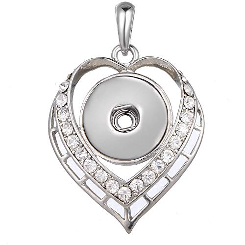 1pc Hot Women Jewelry Hollow Necklace Pendant Fit 18mm Noosa Snap Button Heart HO5T
