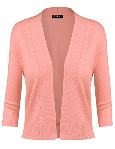 BILY Women's Classic Open Front Cropped Cardigan Peach (Peaches Cardigan Style Jacket)