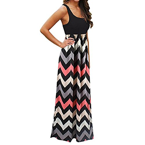 Striped Tank Dress,Lamolory s Casual Sleeveless Scoop Neck Wave Maxi Long Dress (Black, L)