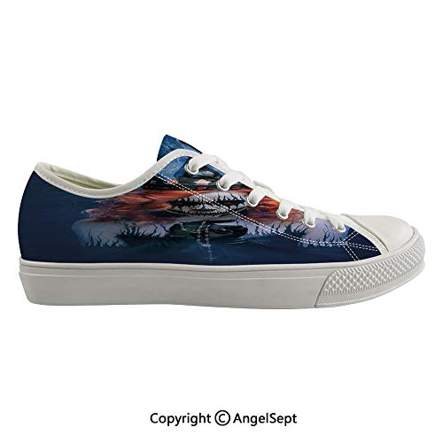 Durable Anti-Slip Sole Washable Canvas Shoes 15.74inch Queen of Death Scary Body Art Halloween Evil Face Bizarre Make Up Zombie,Navy Blue Orange Black Flexible and Soft Nice Gift -