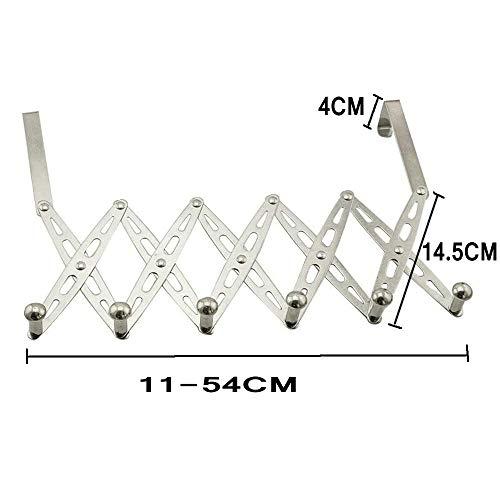 304 Stainless Steel Telescopic Over The Door Hook Organizer Rack Hanging Towel Rack Over Door, 6 Hooks 1 Pack by KKhouse (Image #5)