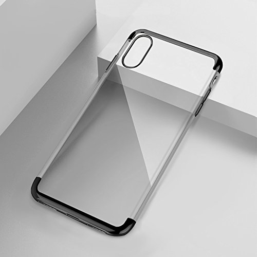 iPhone X Hard Case, Glitter Ultra Thin Crystal Clear Slim Fit Shell Plastic Full Protective Anti-Scratch Resistant Cover Case For Apple iPhone X - Black