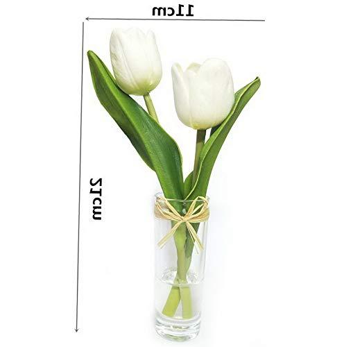 - Gatton Mini Tulips Bouquet in Glass Vase, Home Decor Ornament ding Decoration (White) | Model WDDNG - 2276 |