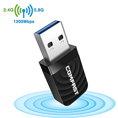 Upgraded Version  WiFi Adapter USB Wireless Adapter High Power AC1300Mbps Dual-Band Wireless Network, 2.4G / 5.8G AC Built-in Antenna Network Card, Suitable for Desktop, USB3.0 Gigabit WiFi Adapt