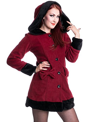 Valarie winter coat with hood and fake fur burgundy/black - S - Vixxsin