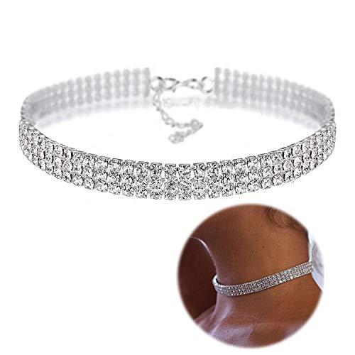 Zealmer Daycindy Silver Clear Rhinestone Choker Necklace for Women