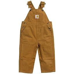 Carhartt Washed Bib Overalls Carhartt Brown 3 MO -Kids