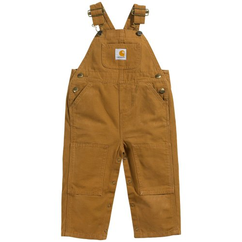 (Carhartt Kid's CM8609 Washed Duck Bib Overall - Boys - 24 Months - Carhartt Brown)