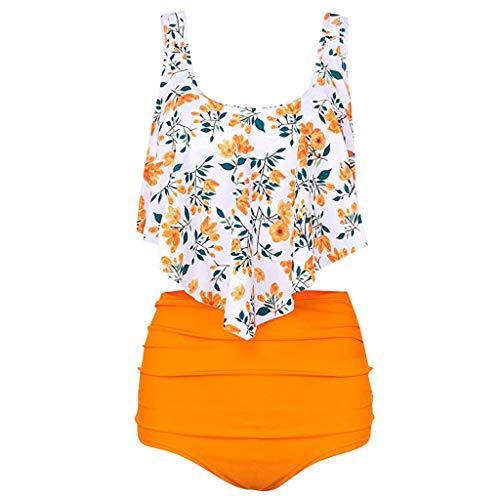 YEZIJIN Women's Straps Print Ruffle Padded Ruched High Waist Two Piece Bikini Tankini Set Swimsuit Swimwear Bathing ()