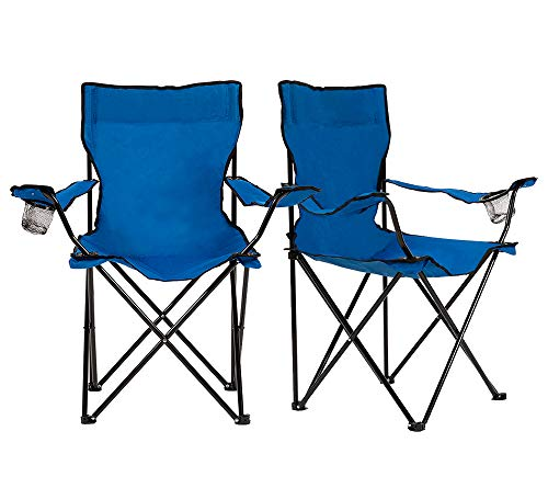 Homewell Portable Folding Chair for Outdoor, Beach and Camping (Blue, 2 Pack)