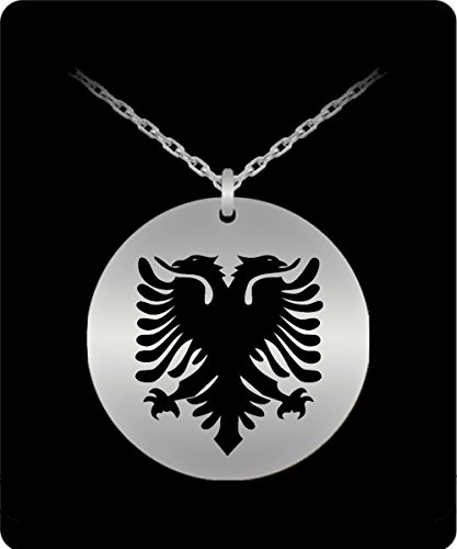 Albanian Eagle Necklace - 18k Gold Palted/Stainless Steel Engraved Pendant - Great Gift Charm For Men and Woman