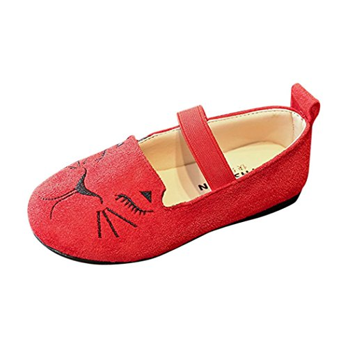 rl Fashion Princess Cat Dance Nubuck Leathr Flat Shoes (Red, US:11(Age:6-6.5T)) (Toddler Red Nubuck Kids Shoes)