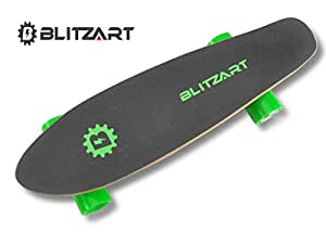 "BLITZART Mini Flash 28"" Electric Skateboard Motorized 2.8"" Wheels Hub Motor Remote Controlled E-Skateboard- Green"