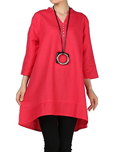 Mordenmiss Women's Cotton Linen Blouse V-Neck Tunic Tops 3/4 Sleeve Shirt Clothing M Red