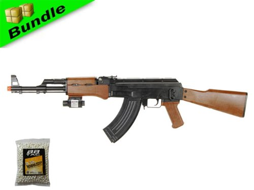 bbtac p1147 ak47 airsoft gun package w/ 1,000 bbs, tactical red dot light airsoft spring rifle, with bbtac warranty(Airsoft Gun)