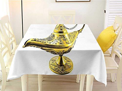 Square Tablecloth Fabric Arabian Aladdin`s Magic Genie Lamp Wish Mystery Magic Wonder Adventure Story Inspired Art Gold White Pattern 50 x 50 - Accent Lamp Key Greek