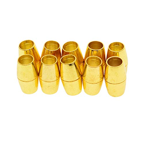 Prettyia 10 20 Sets Gold/Bronze Color Magnetic Clasps Barrel Glue in Tube Clasps Fit 6mm Leather Cord Bracelet Connectors for DIY Jewelry Making Accessories - Gold