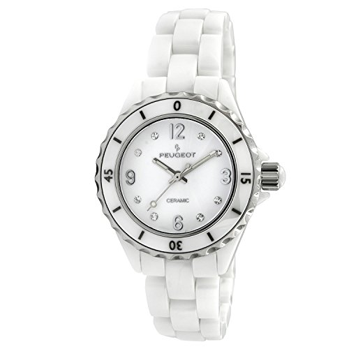 Peugeot Women's Quartz Watch with Ceramic Strap, White, 16 (Model: 7100WT)