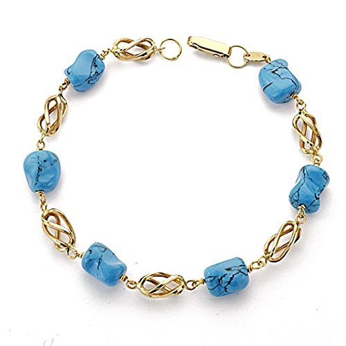 Bracelet Turquoise 19cm 18k cage d'or. fermoir [7769]