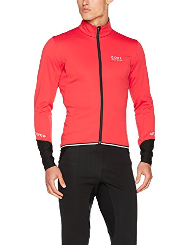 Windstopper Shell Jacket - Gore Bike WEAR Men's Road Cyclist Facket, Fleeced, Gore Windstopper Soft Shell, Power 2.0, Size M, Red/Black, JWPOSO
