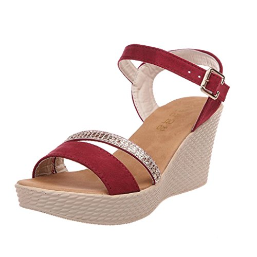 Riemchen Hochhackige Sling Wedge Outdoor Leather Wide Fit 2 Schuhe Sandals Embellished Wedding Lolittas Schnürschuhe Slingback 5 Rot Toe Größe Plattform Women Summer Peep Glitter z8ZUZwqS