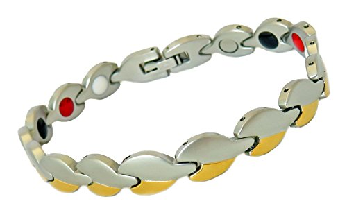 41B04LekICL - Stainless Steel Brushed Silver and Gold Link Magnetic Therapy Bracelet with Infrared, Tourmaline and Germanium