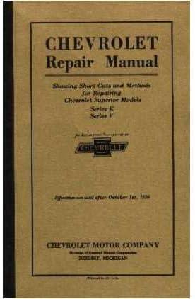 Amazon.com: COMPLETE 1925 & 1926 CHEVROLET PASSENGER CAR, TRUCK & PICKUP  FACTORY REPAIR SHOP & SERVICE MANUAL - Series K & Series V - CHEVY 25 26:  AutomotiveAmazon.com