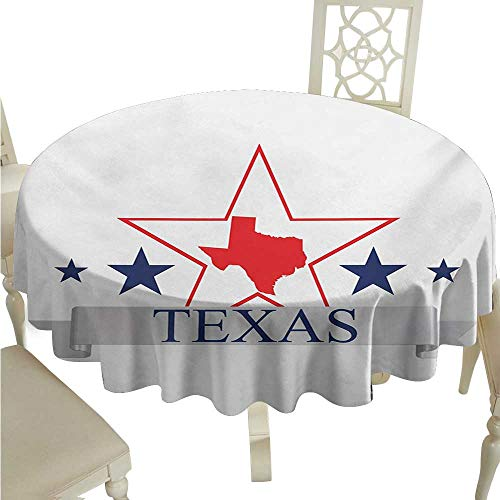 (crabee Round Tablecloth Texas Star,San Antonio Dallas Houston Austin Map with Stars Pattern USA,Navy Blue Vermilion Pale Grey D54,for)