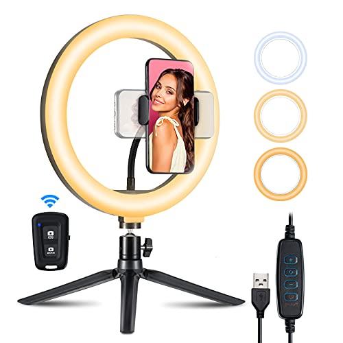 10,2'' LED Ringlicht mit Stativ Handy, Selfie Ringleuchte mit Handyhalterung und Fernbedienung, Tiktok Ringleuchte mit 3 Leuchtmodi&10 Helligkeitsstufen für Fotografie/Make-Up/Live Streaming/YouTube