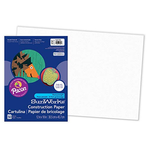SunWorks PAC8707BN Construction Paper, Bright White, 12