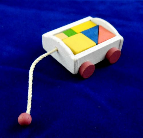 Dollhouse Miniature Wagon with Blocks (Dollhouse Baby Nursery)