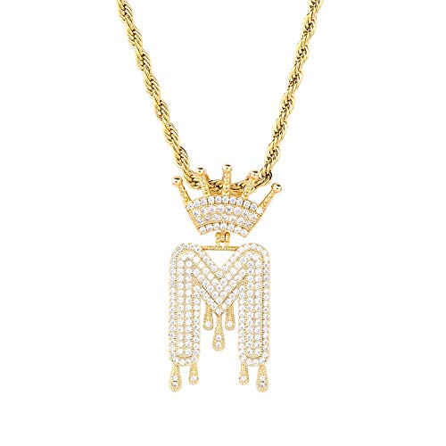 HECHUANG Micropave Simulated Diamond Iced Out Crowned Initial Dripping Letters Pendant with Rope Chain (Gold M, 24)