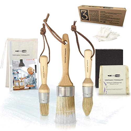 Pro Chalk & Wax Brush Set for Painting Furniture, 3 Paint Brushes, Works with Milk Paint, Clear Wax, Home Decor Large & Small Natural Hair Bristles Round, Oval, Flat Bristle Head by Vintage Tonality