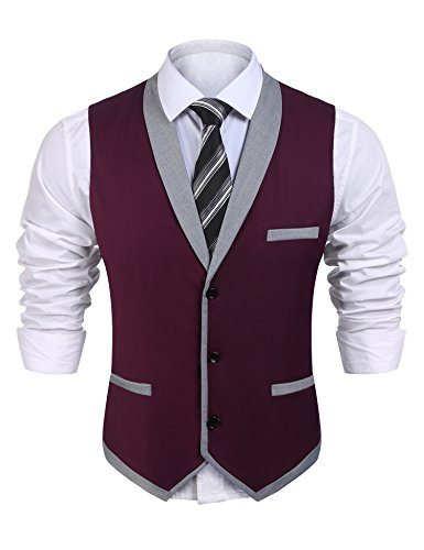 (COOFANDY Men's V-Neck Sleeveless Slim Fit Vest,Jacket Business Suit Dress Vest (XXX-Large, Wine Red))