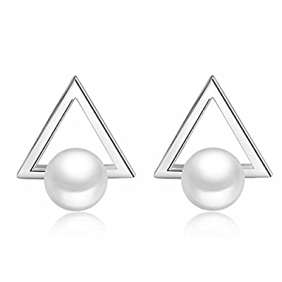 Besflily Women Girls Simple Faux Pearl Triangle Silver Plated Dangle Stud Earrings with Gift Box save more