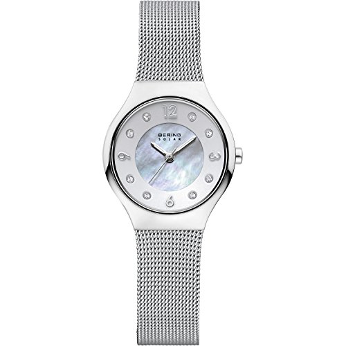 BERING Time 14427-004 Womens Solar Collection Watch with Mesh Band and scratch resistant sapphire crystal. Designed in Denmark.