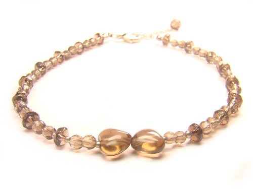 Wagga-Shop-AA0219F-Smoky-Quartz-Crystal-Anklet-Wheel-and-Round-Shape-with-Cutting-Women-Base-Metal-Anklet