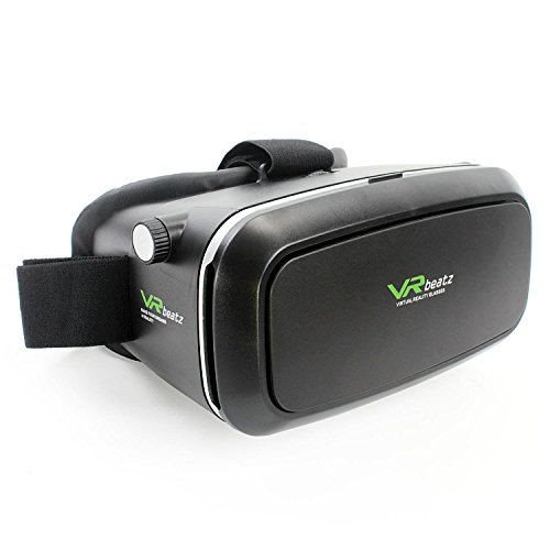 "VR Headset Virtual Reality Goggles V2 by VR beatz - Deep Immersive Experience on 3D Movies & Games, Extra Ventilation, Light Weight & Comfortable, fits 4-6"" iPhone Samsung Galaxy"