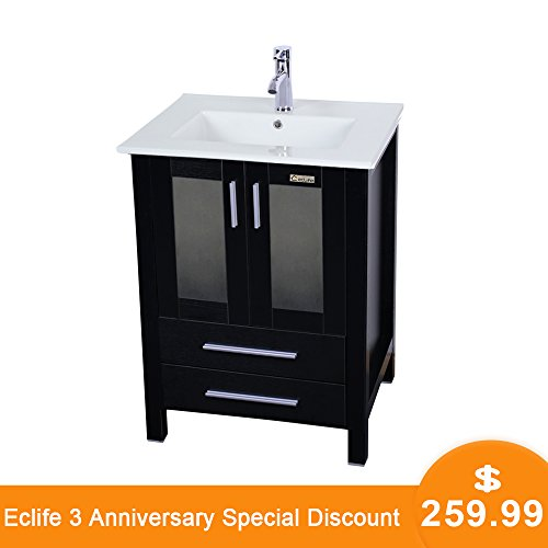 "Eclife 24.5"" Modern Bathroom Vanity Sink Combo with Overflow Ceramic Sink Top & MDF Stand Bathroom Cabinet & Chrome Solid Grass Faucet and Pop Up Drain Counter Top Basin with Vanity Mirror A8B3"