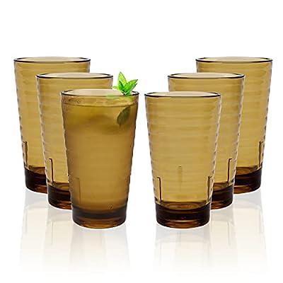 6 Stück 385ml Kunststoff Gläser,Bruchfestes Schnapsglas Wasserglas Stapelbar für Camping Acryl-Plastikwasserbecher…